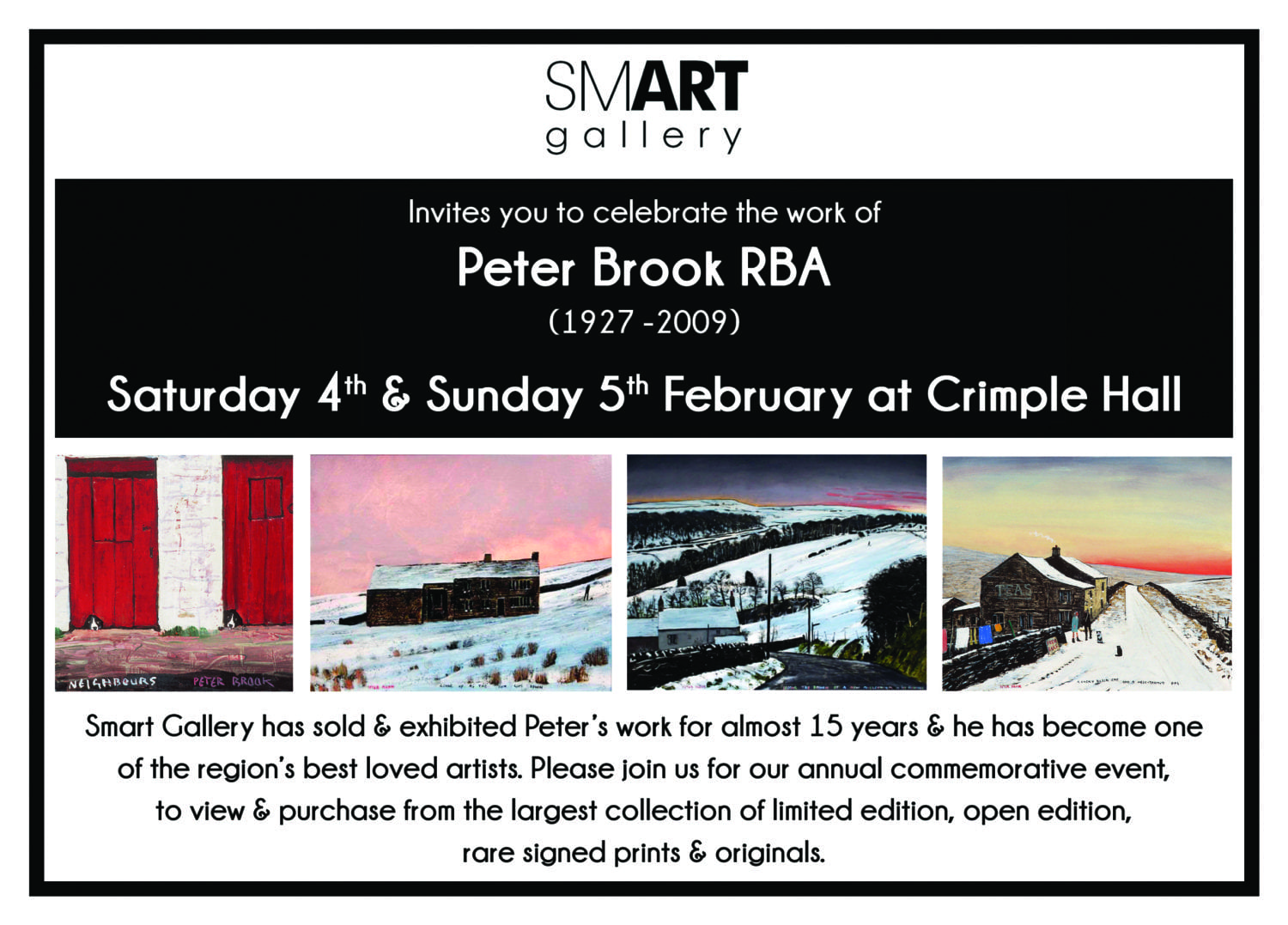 Peter Brook Tribute Exhibition at Crimple Hall | Saturday 4th & Sunday 5th February